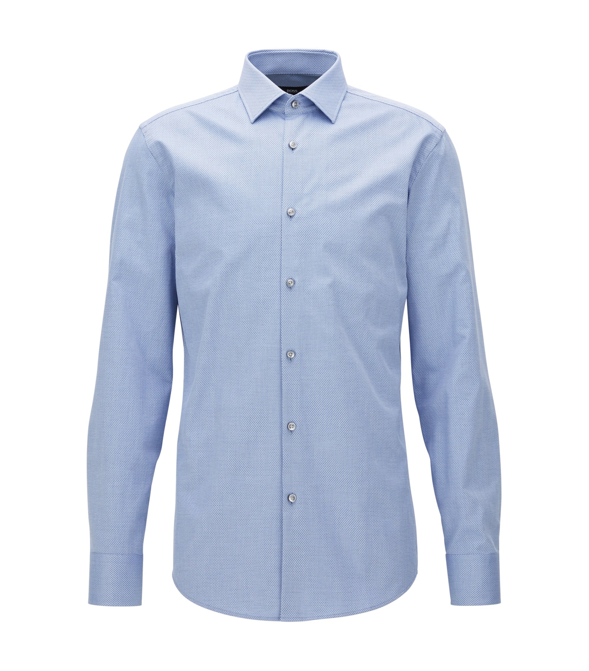 Diamond Print Cotton Dress Shirt, Slim Fit | Jenno, Light Blue