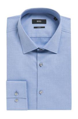 Diamond Print Cotton Dress Shirt, Slim Fit | Jenno, Light Blue