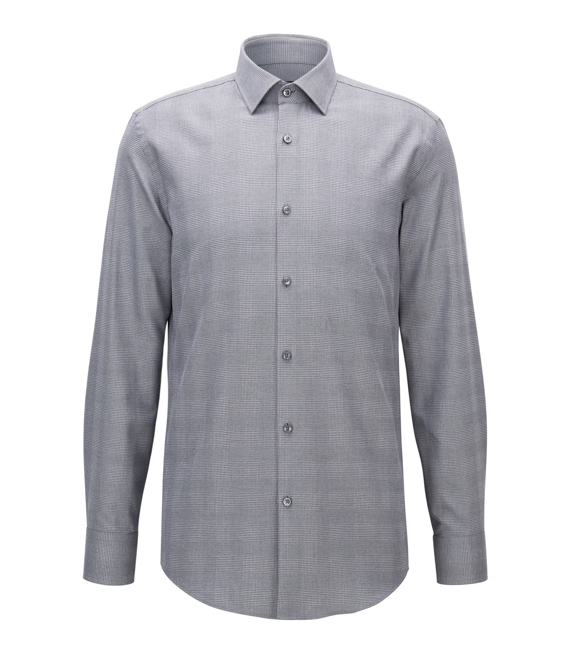 Plaid Cotton Dress Shirt, Slim Fi t| Jenno, Charcoal