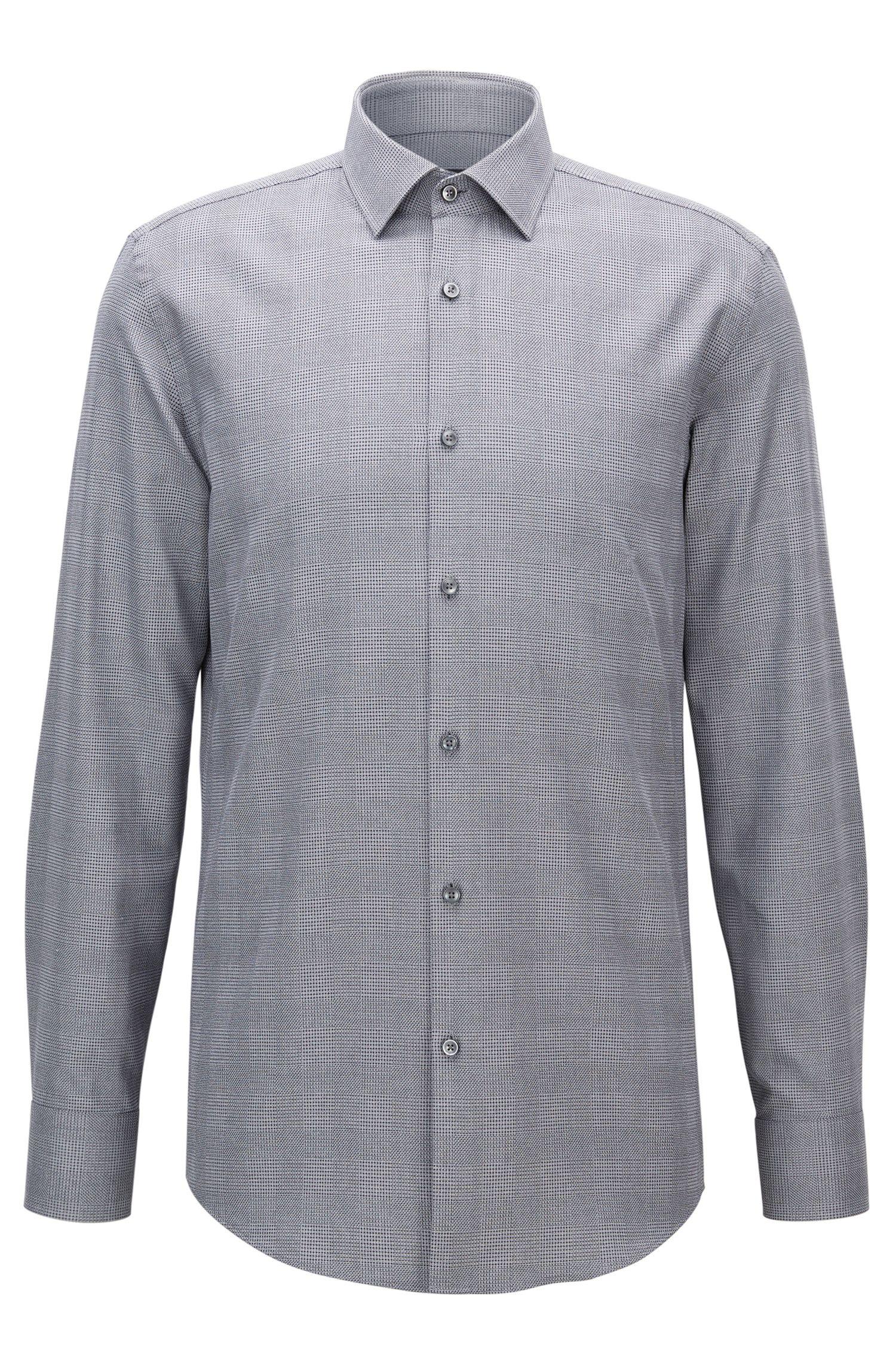 Plaid Cotton Dress Shirt, Slim Fi t| Jenno