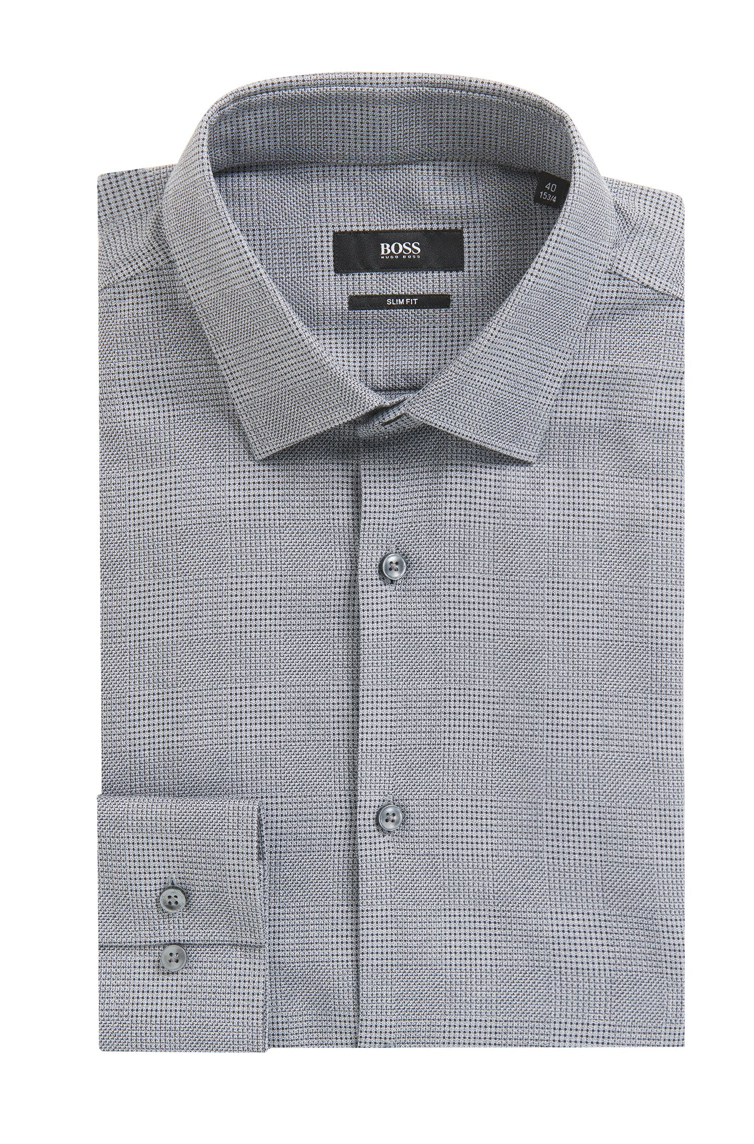 Plaid Cotton Dress Shirt, Slim Fi t| Jenno