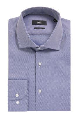 'Gordon' | Regular Fit, Cotton Twill Dress Shirt, Dark Blue