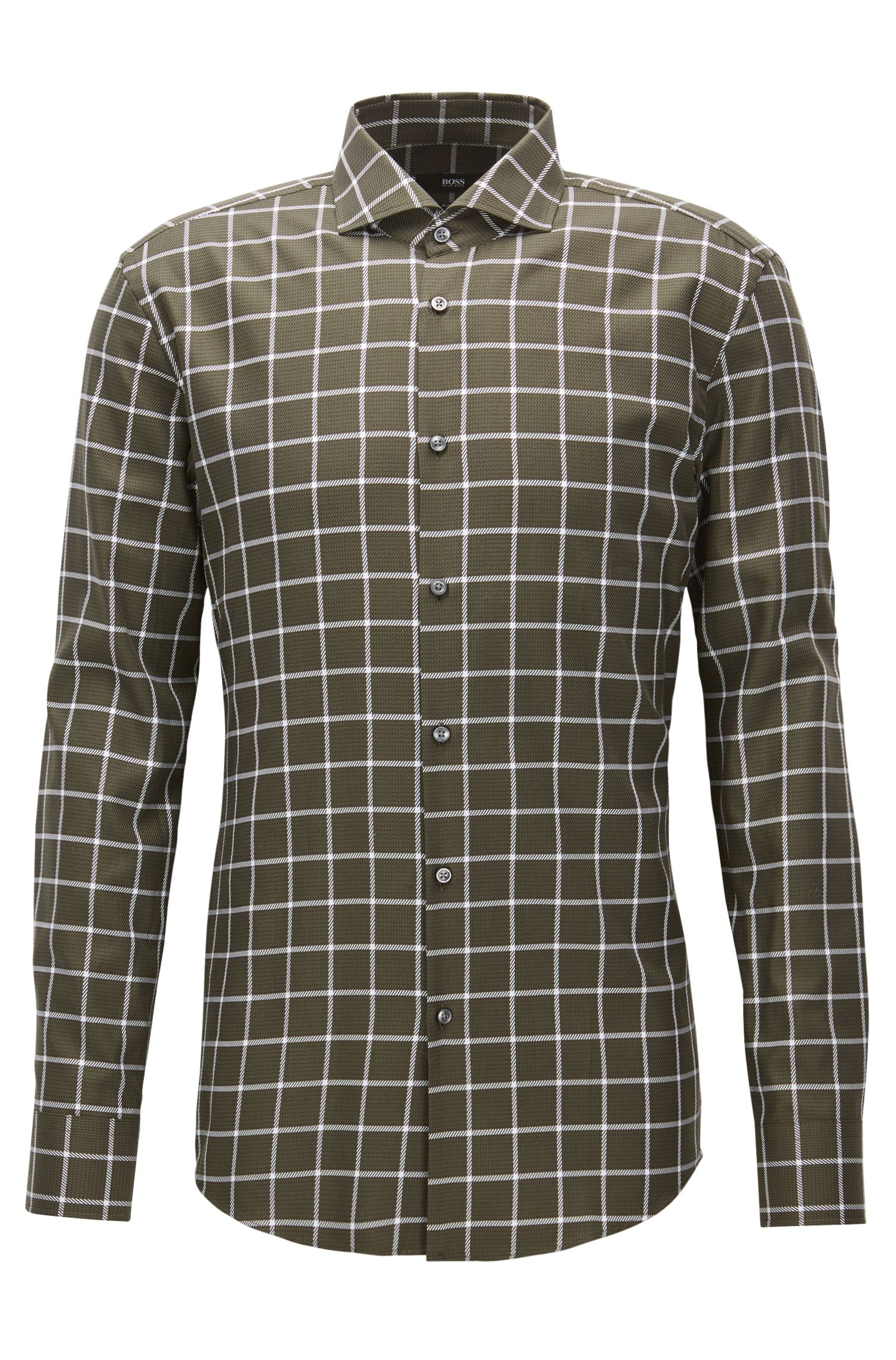 Plaid Cotton Dress Shirt, Slim Fit | Jason