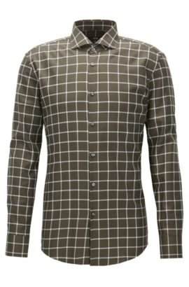 Plaid Cotton Dress Shirt, Slim Fit | Jason, Open Green