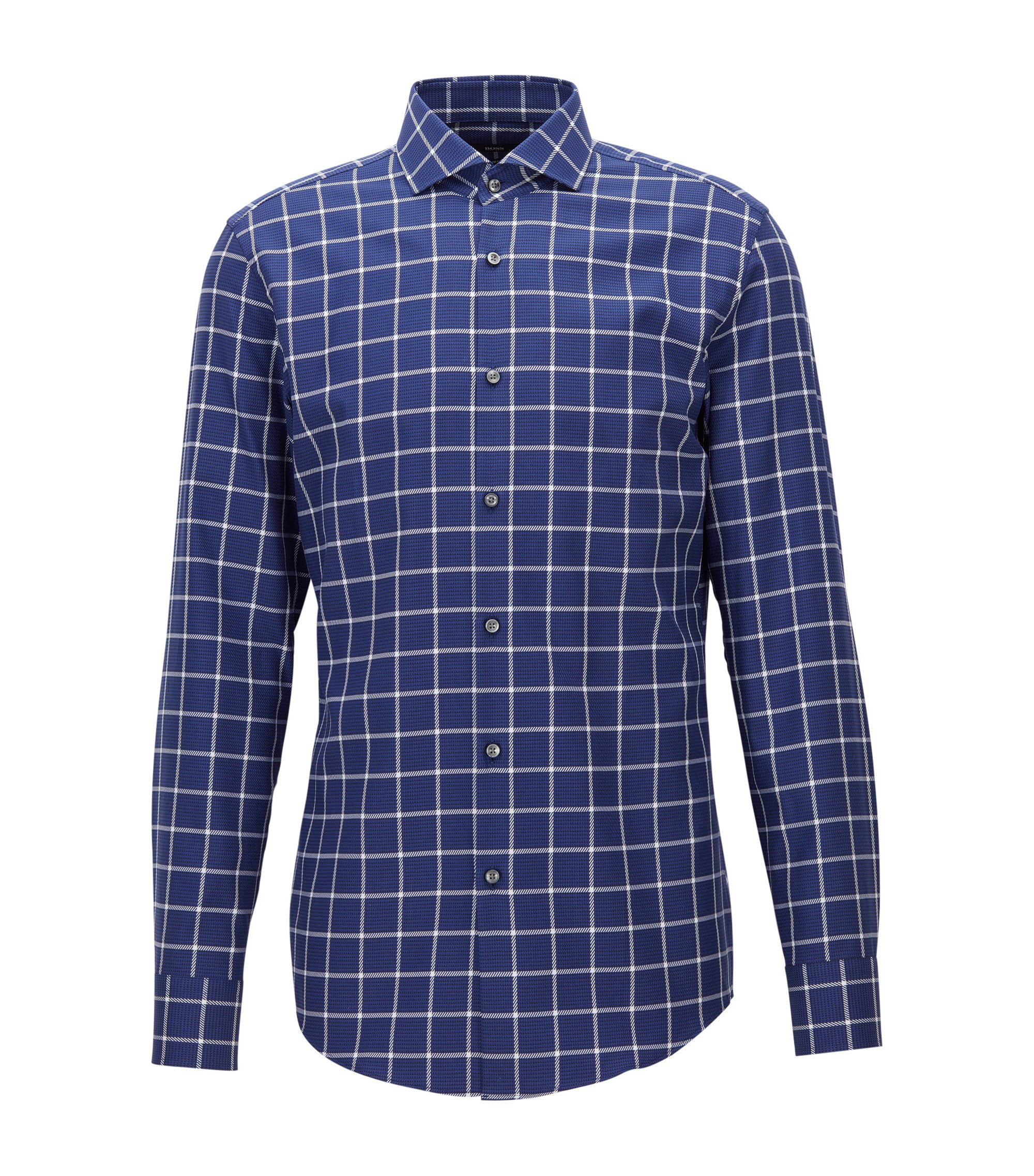 Plaid Cotton Dress Shirt, Slim Fit | Jason, Dark Blue