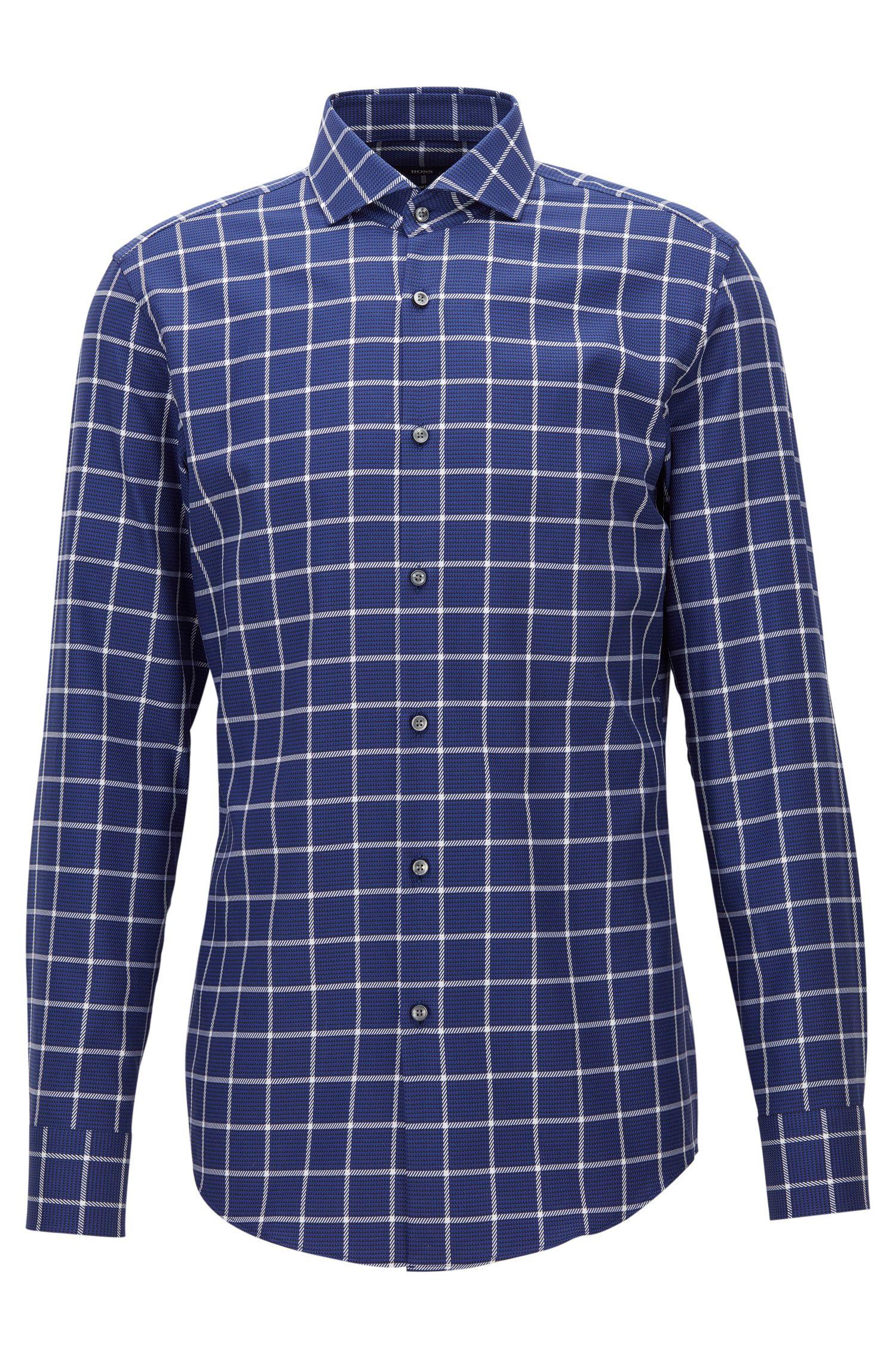 Plaid Cotton Dress Shirt, Slim Fit   Jason