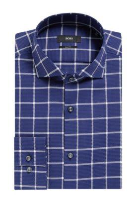 Plaid Cotton Dress Shirt, Slim Fit | Jason, Dark Blue