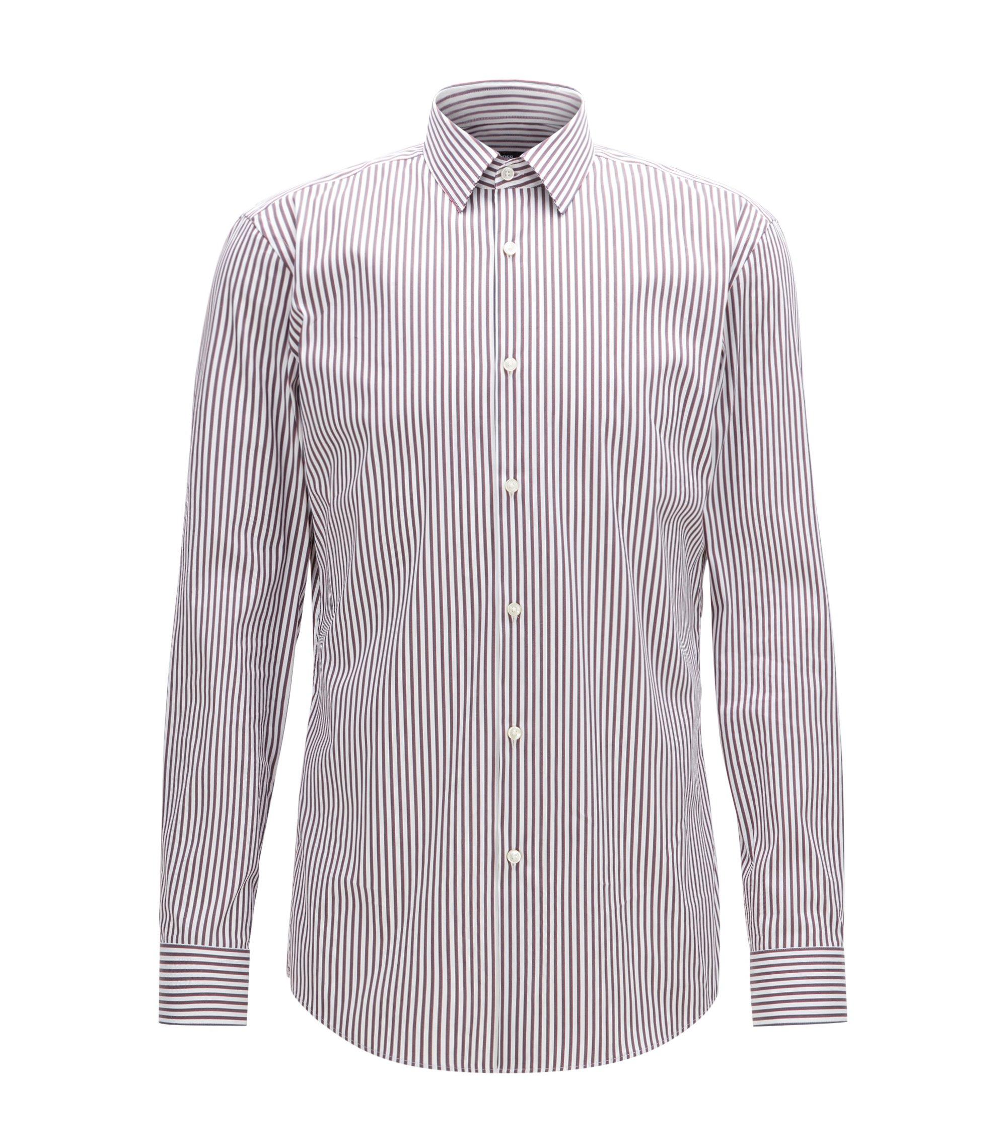 Striped Stretch Cotton Dress Shirt, Slim Fit | Isko, Red