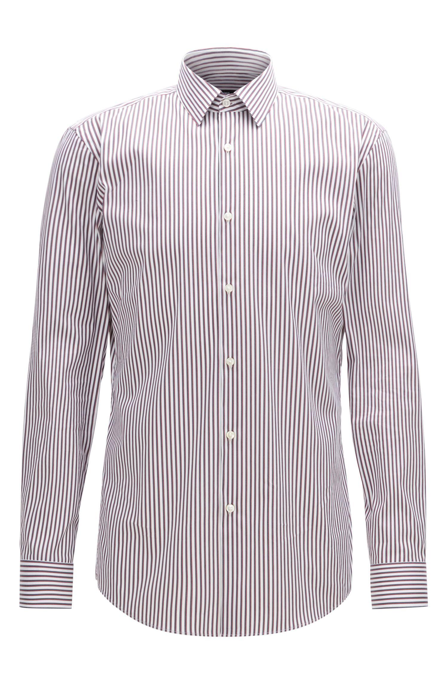 Striped Stretch Cotton Dress Shirt, Slim Fit | Isko
