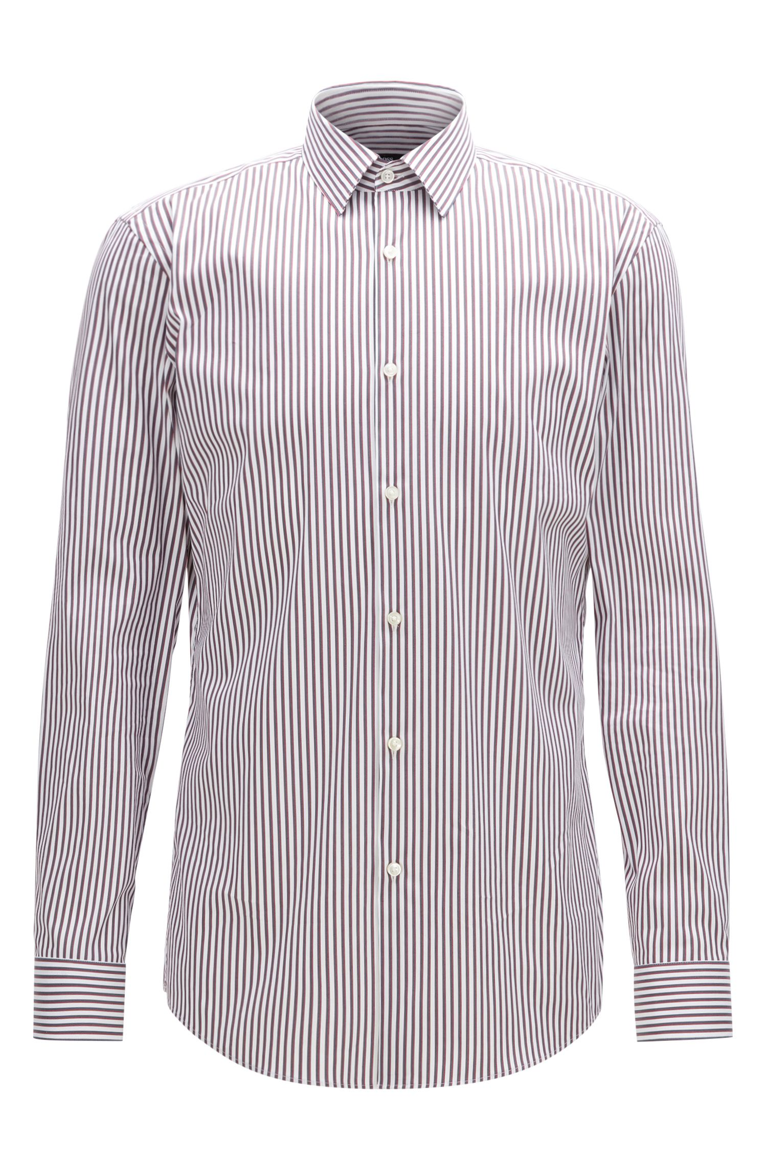Striped Stretch Cotton Dress Shirt with Stretch Tailoring, Slim Fit | Isko