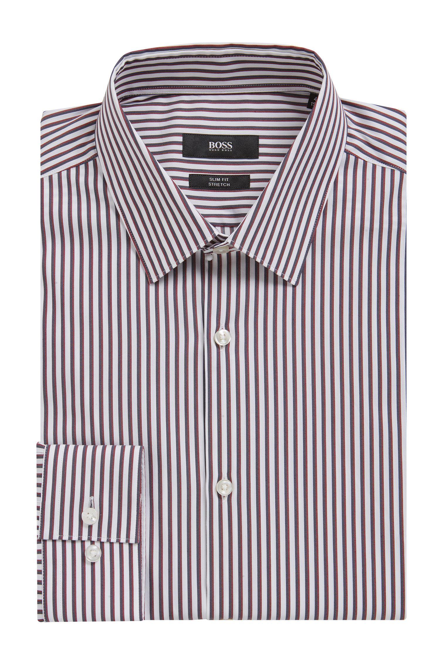 'Isko' | Slim Fit, Striped Stretch Cotton Dress Shirt