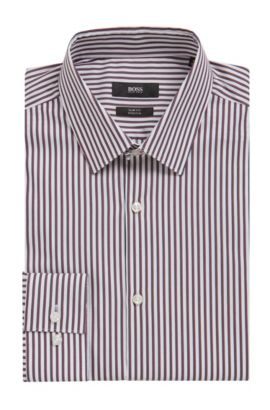 'Isko' | Slim Fit, Striped Stretch Cotton Dress Shirt, Red