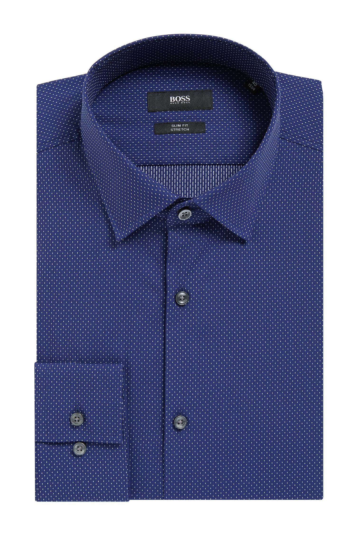 Pindot Stretch Cotton Dress Shirt, Slim Fit | Jenno