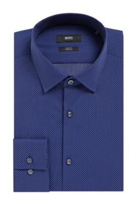Pindot Stretch Cotton Dress Shirt with Stretch Tailoring, Slim Fit | Jenno, Blue