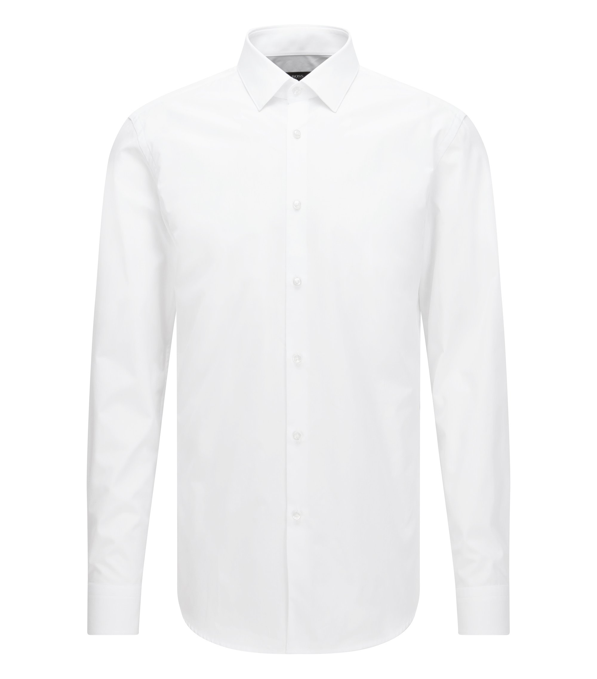 Two-Ply Cotton Dress Shirt, Slim Fit | Isko, White