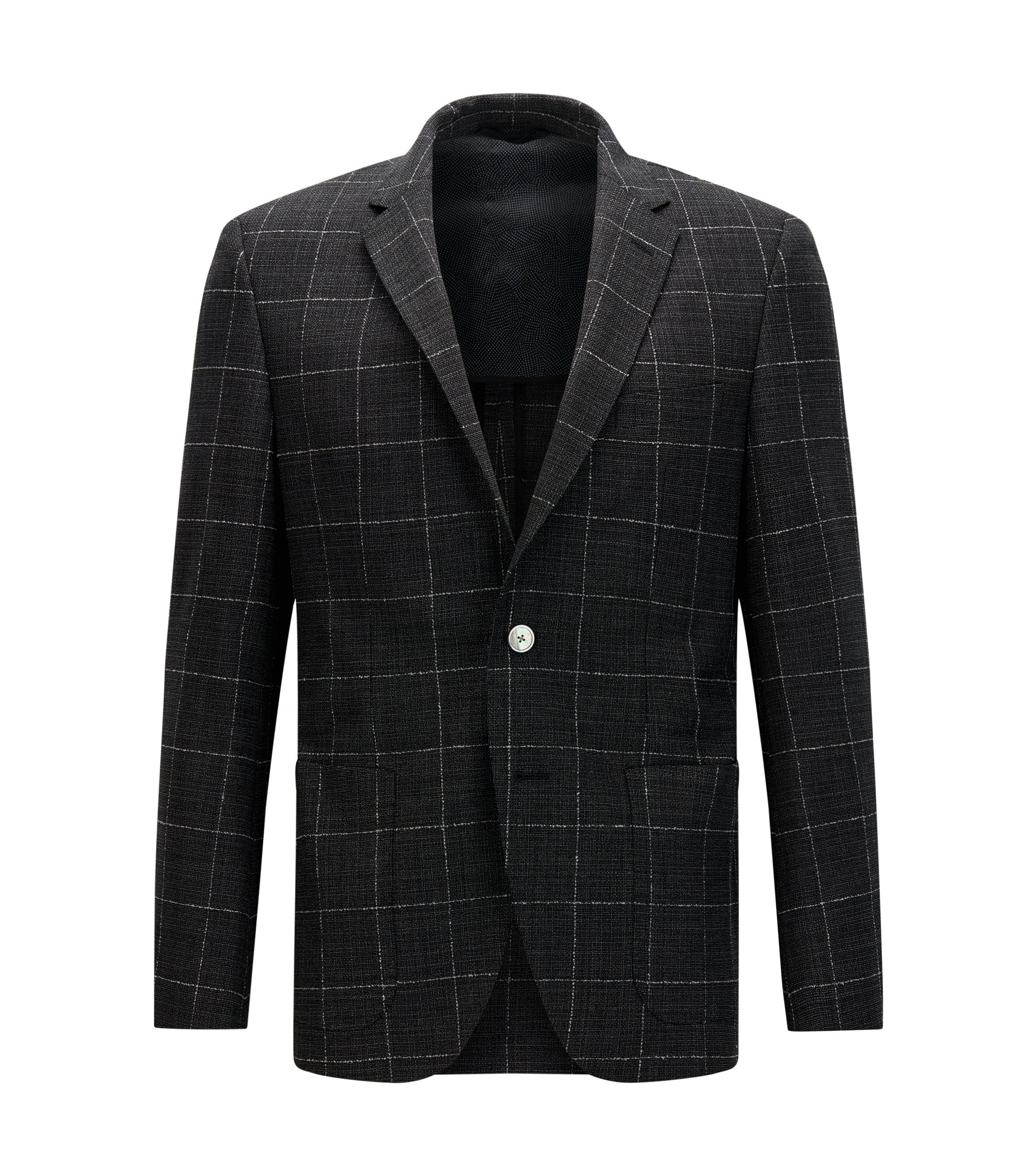Windowpane Virgin Wool Sport Coat, Regular Fit | Janson, Open Grey