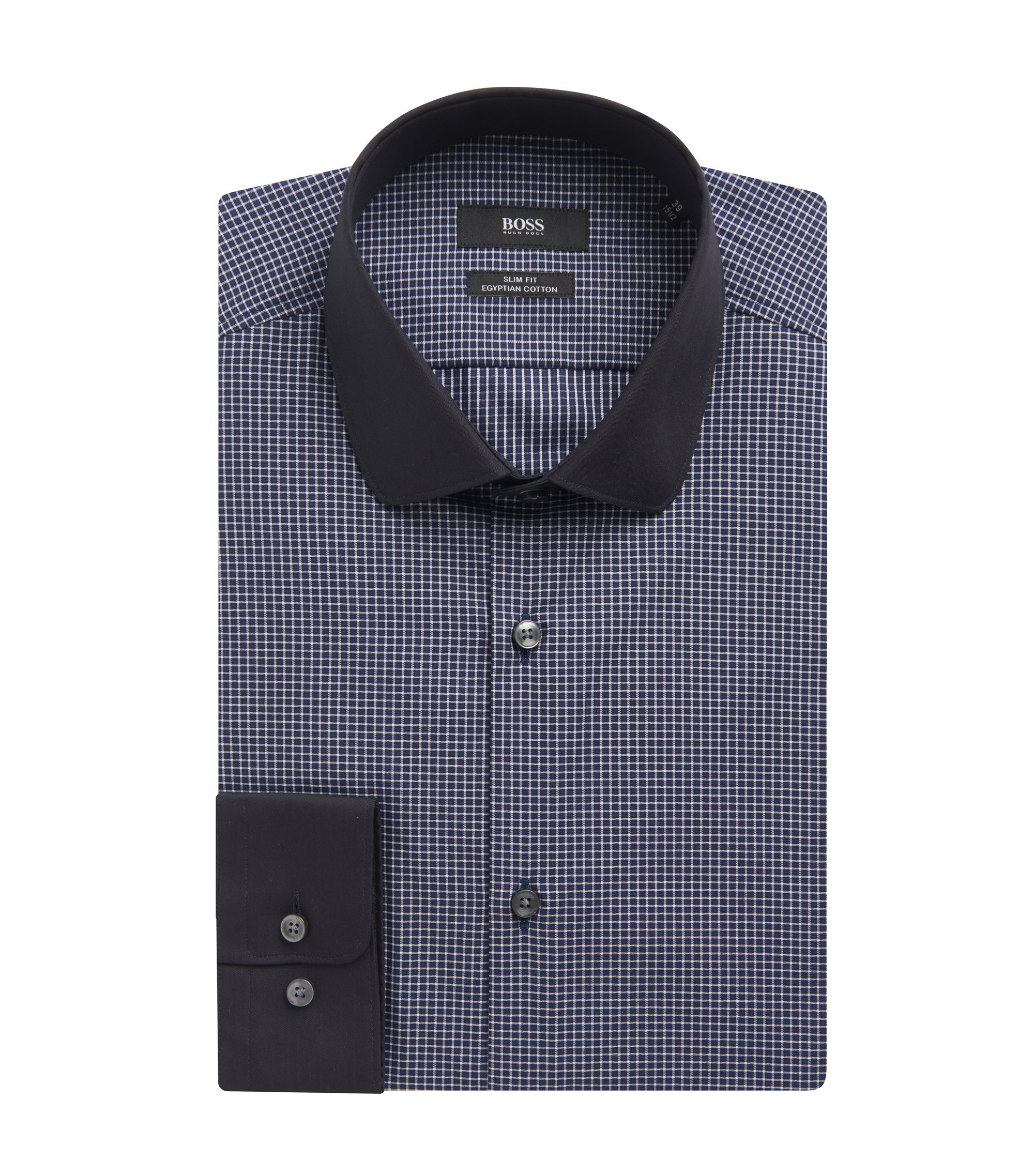 Striped Egyptian Cotton Dress Shirt, Slim Fit | Joshy , Dark Blue