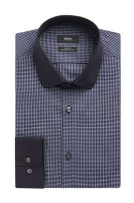 Striped Egyptian Cotton Dress Shirt, Slim Fit | Joshy , Dark Blue