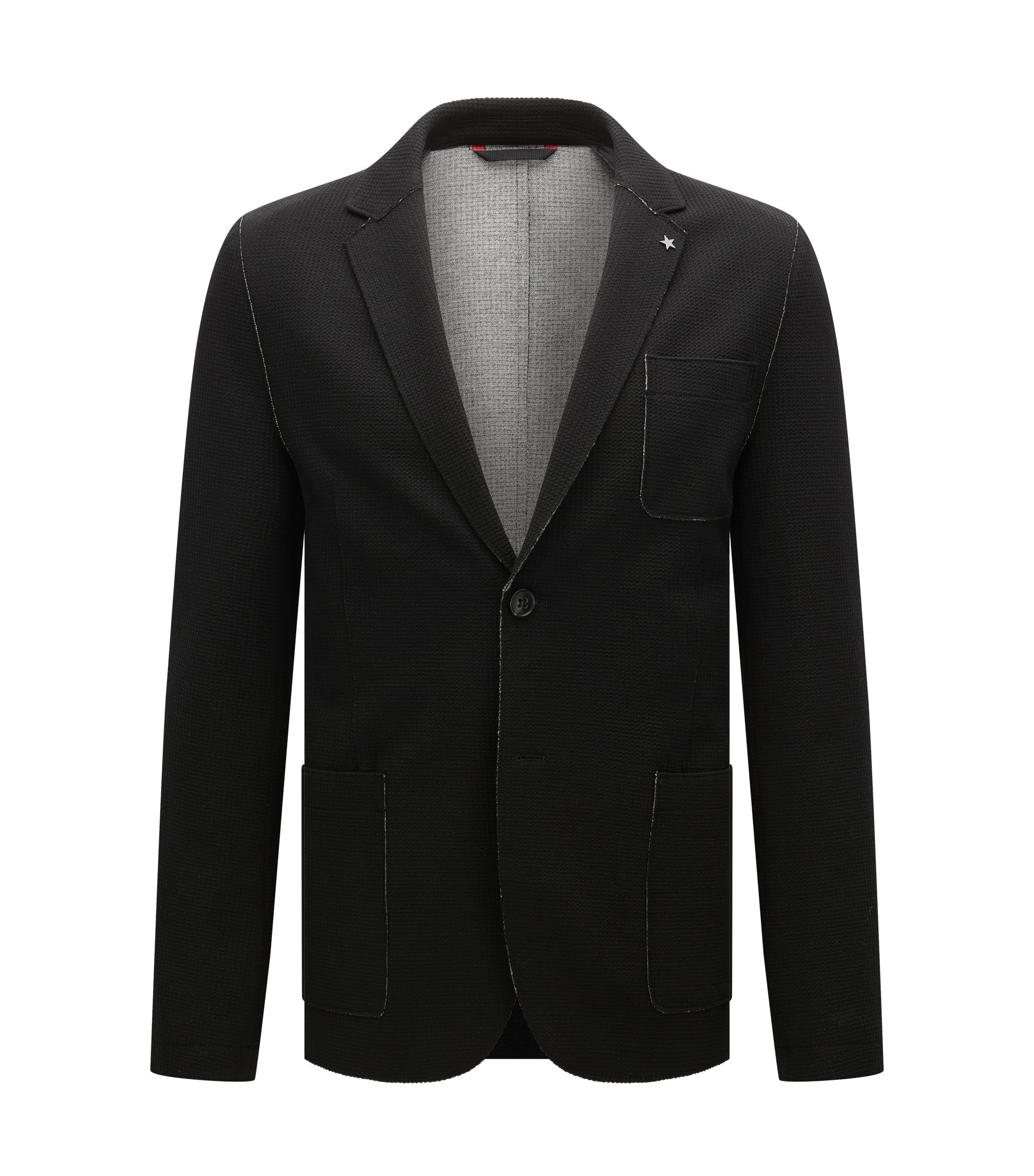 Waffle Knit Jersey Sport Coat, Slim Fit   Agalton, Black