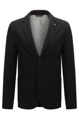 Waffle Knit Jersey Sport Coat, Slim Fit | Agalton, Black