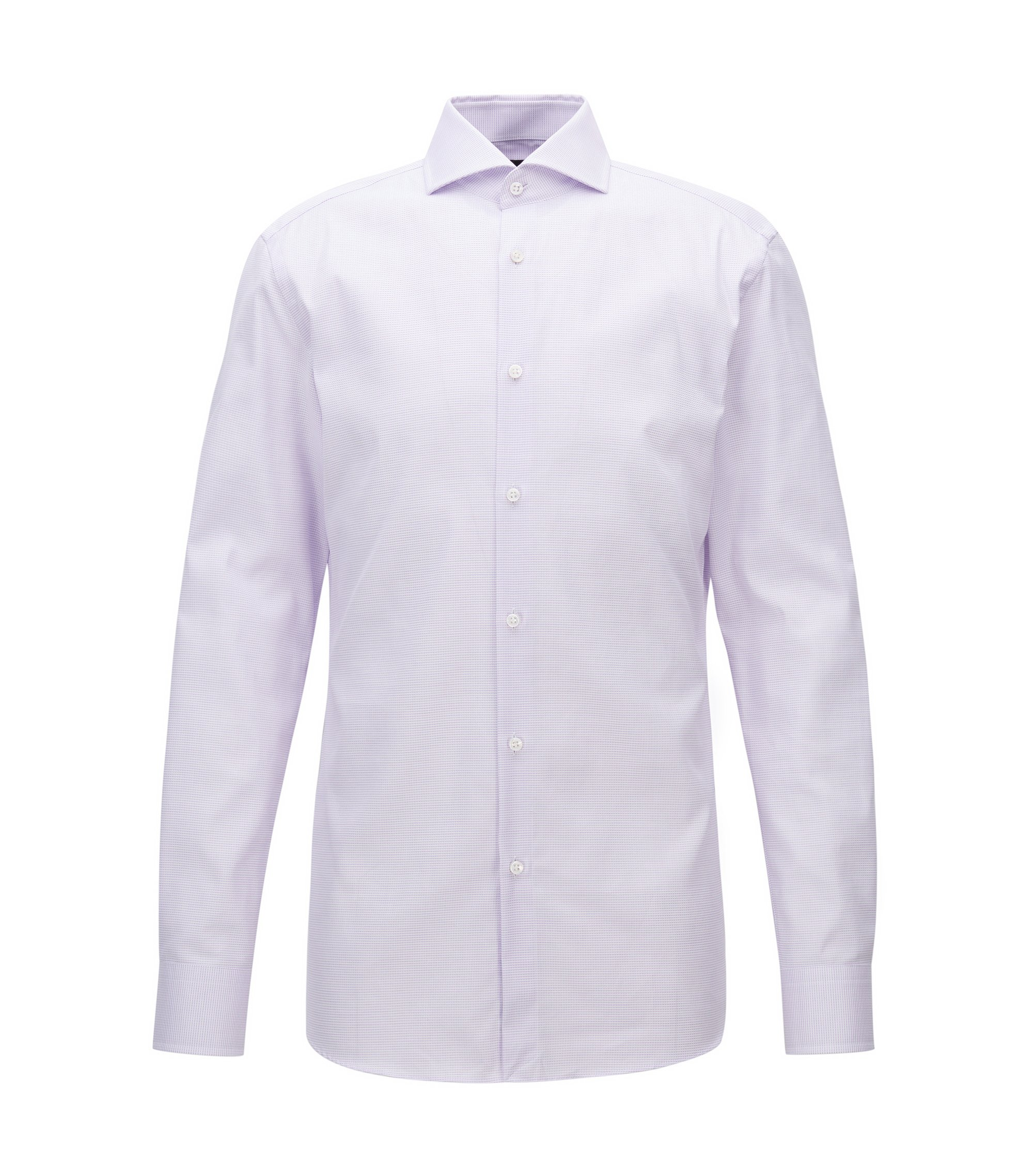 Mini-Check Cotton Dress Shirt, Slim Fit | T-Christo, Light Purple