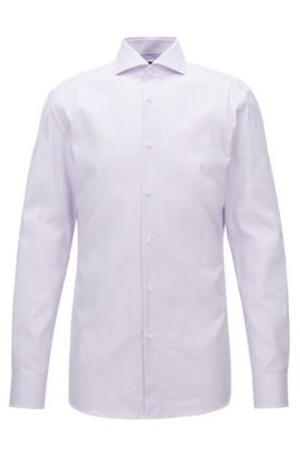 'T-Christo' | Slim Fit, Mini-Check Cotton Dress Shirt, Light Purple