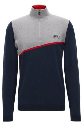 'Zymor Pro' | Colorblocked Stretch Cotton Sweater, Dark Blue