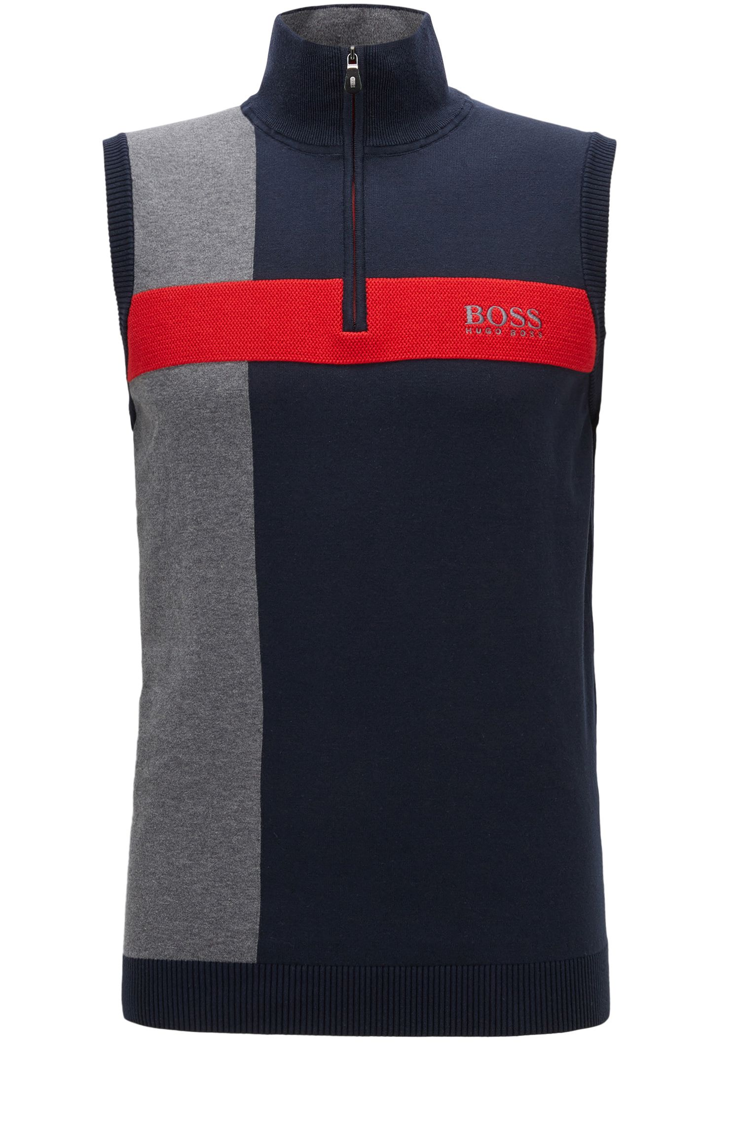 'Zagi Pro W17' | Coloblocked Stretch Cotton Sweater Vest, Dark Blue