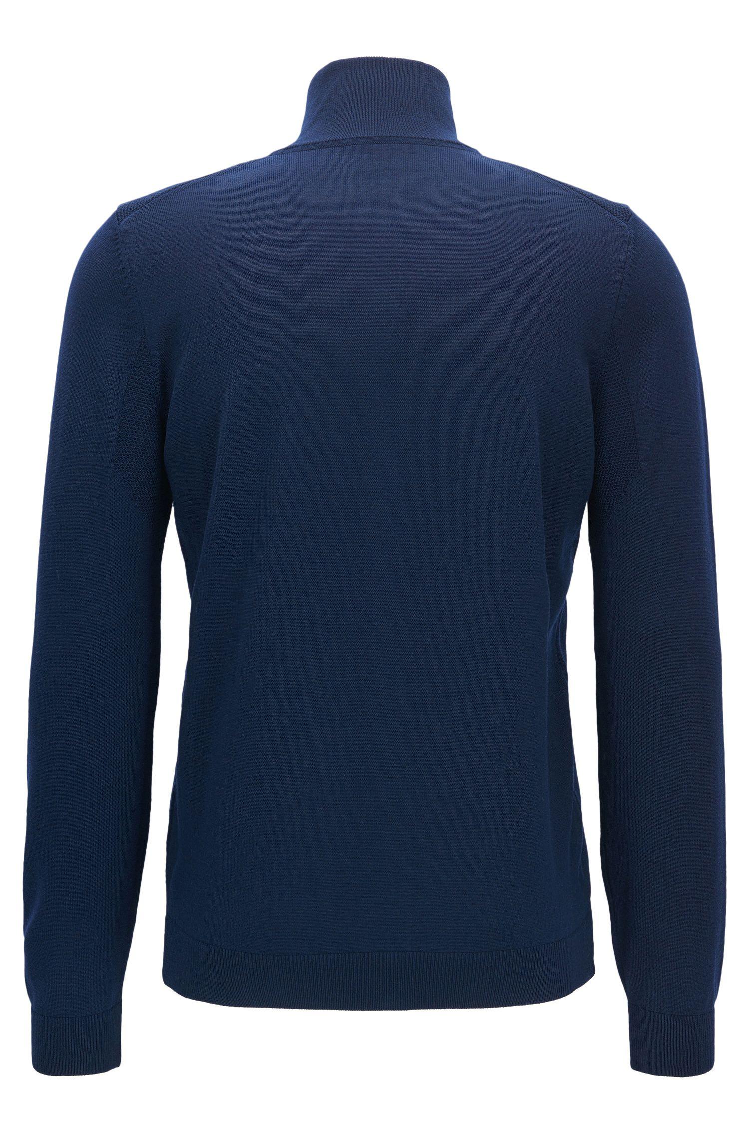 Virgin Wool Full-Zip Sweater Jacket | Zeen Pro, Dark Blue