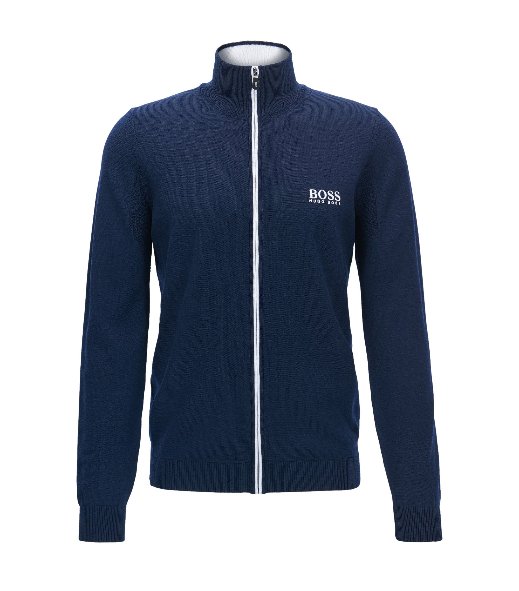 Virgin Wool Full-Zip Sweater Jacket | Zeen Pro, Dark Blue