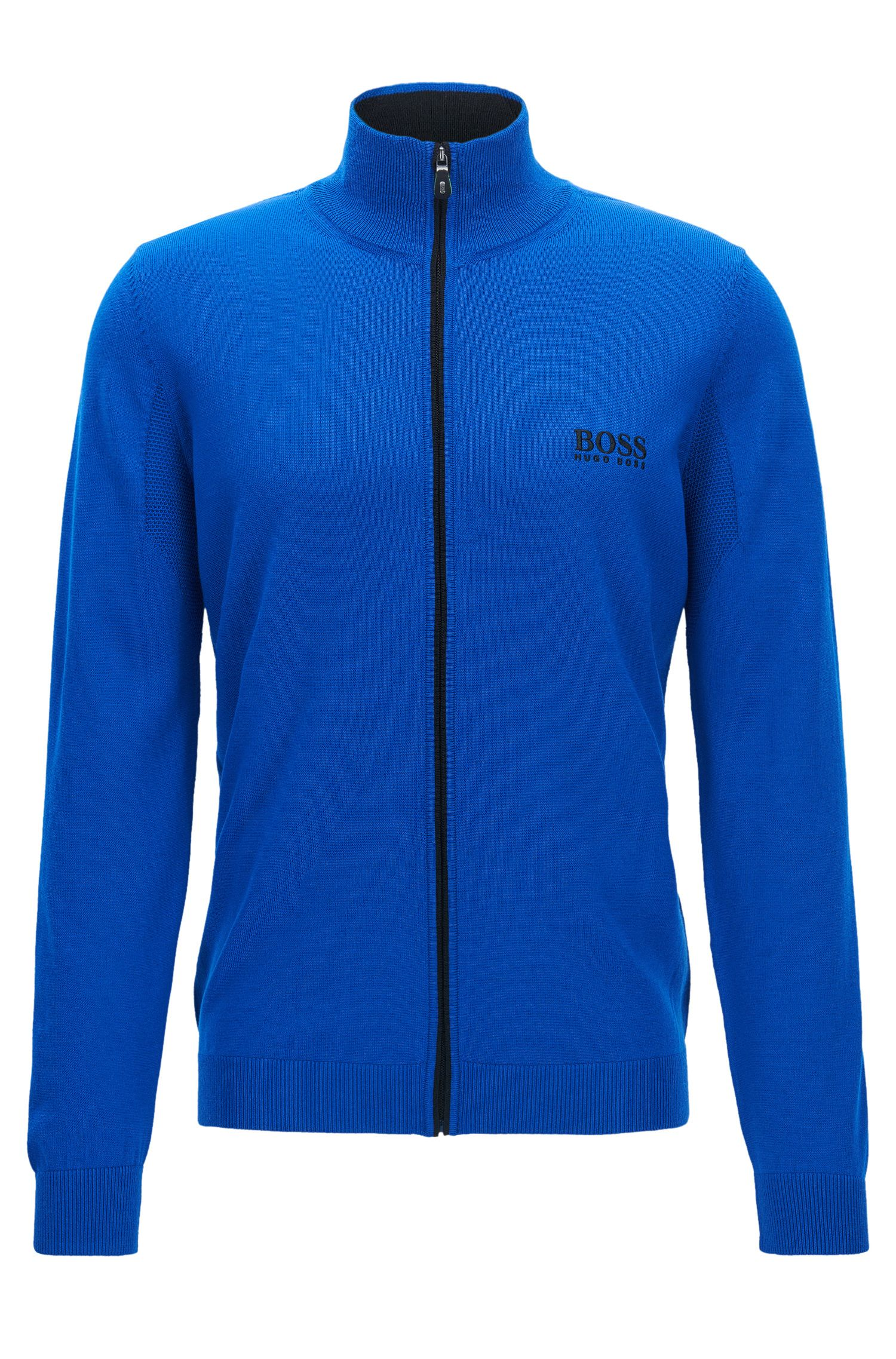 Virgin Wool Full-Zip Sweater Jacket | Zeen Pro