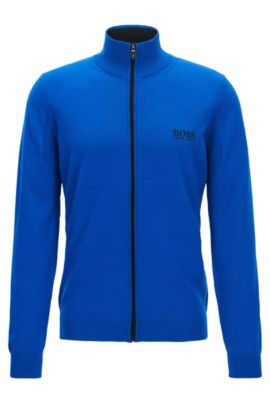 Virgin Wool Full-Zip Sweater Jacket | Zeen Pro, Blue