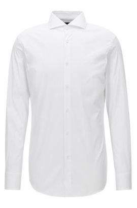 Stretch Cotton Dress Shirt with Stretch Tailoring, Slim Fit | T-Christo, White