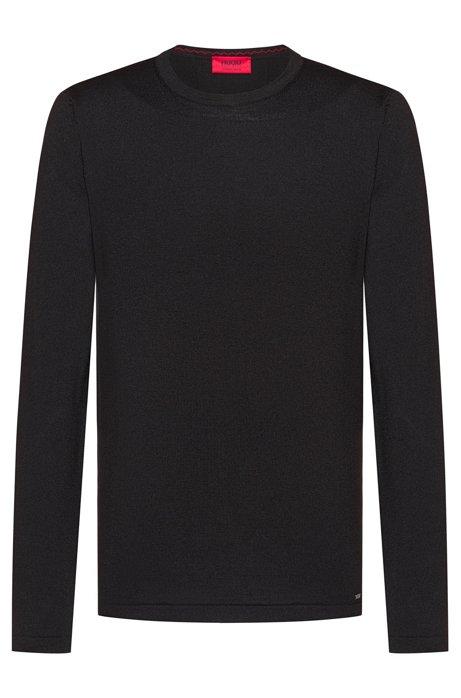 Crew-neck sweater in Merino wool, Black