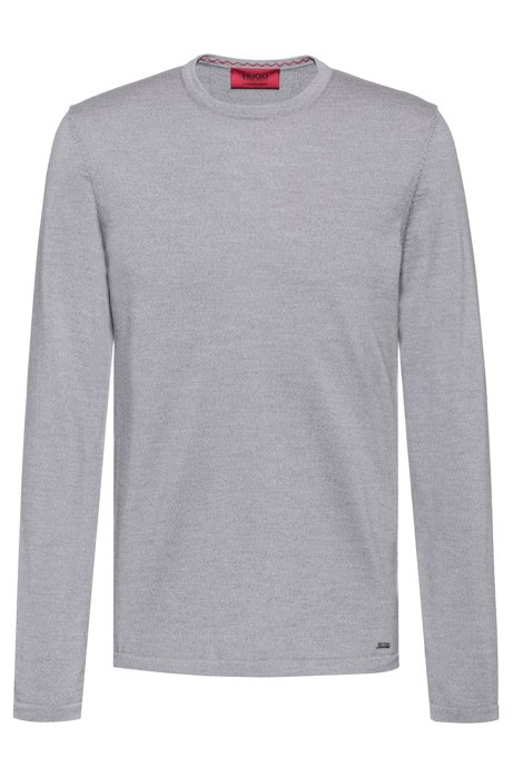 Crew-neck sweater in Merino wool, Grey