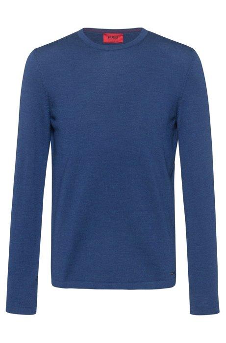 Crew-neck sweater in Merino wool, Blue
