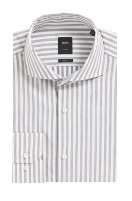 Italian Cotton Dress Shirt, Slim Fit | T-Christo, Grey