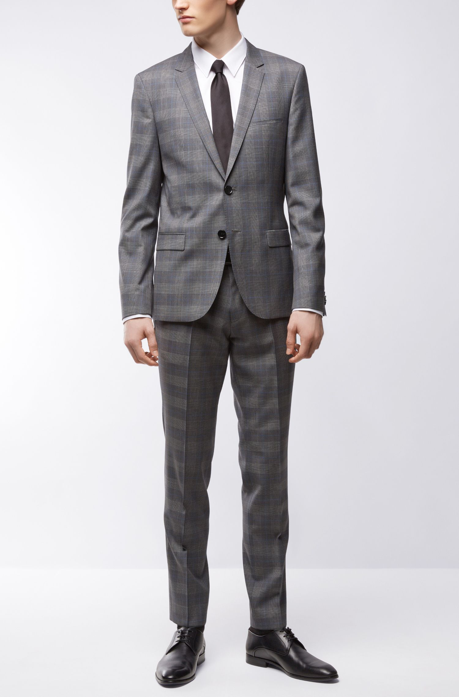 Plaid Virgin Wool Suit, Extra Slim Fit | Arti/Heston, Open Grey