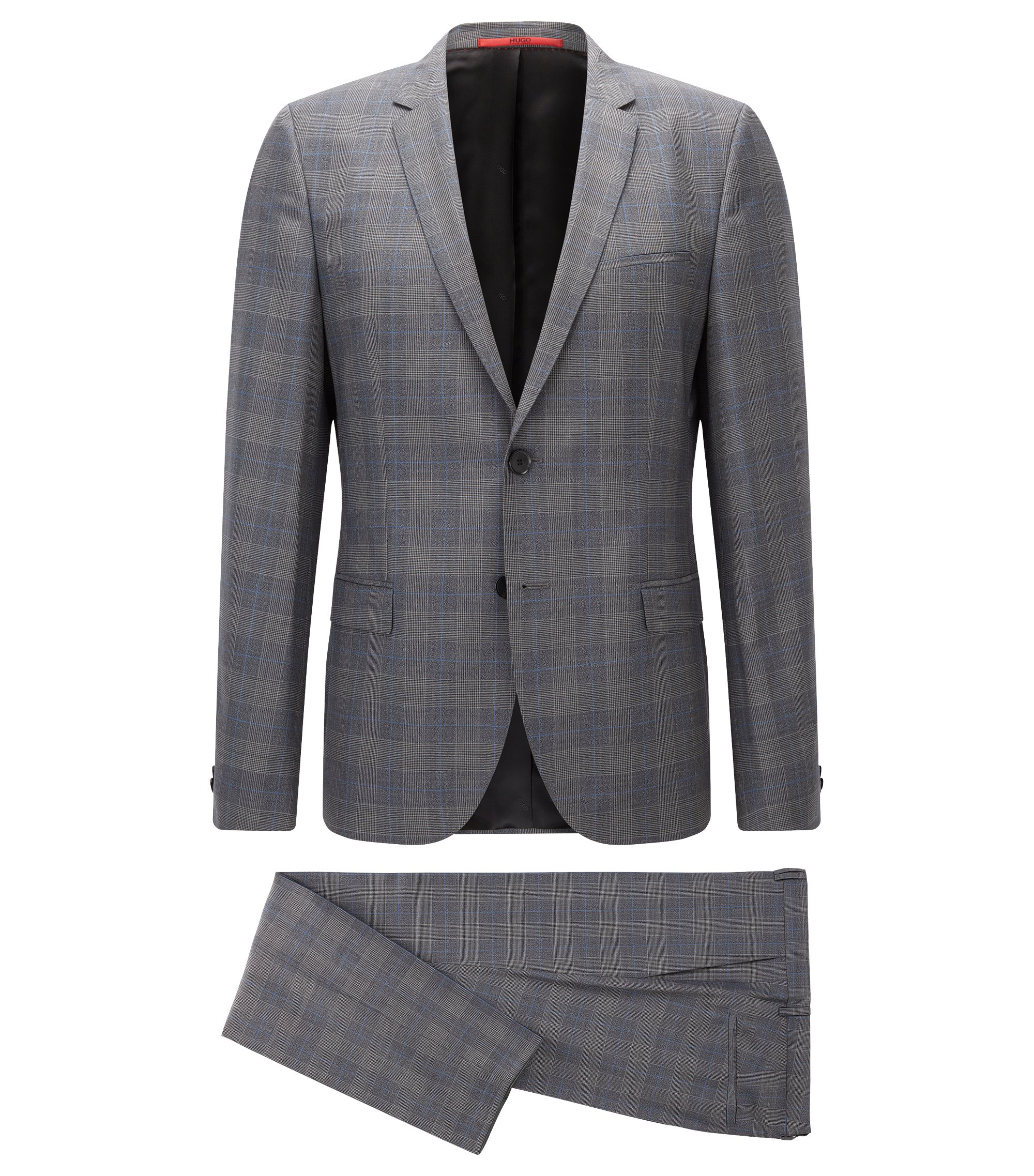 Plaid Virgin Wool Suit, Extra Slim Fit | Arti/Heston, Open Grey