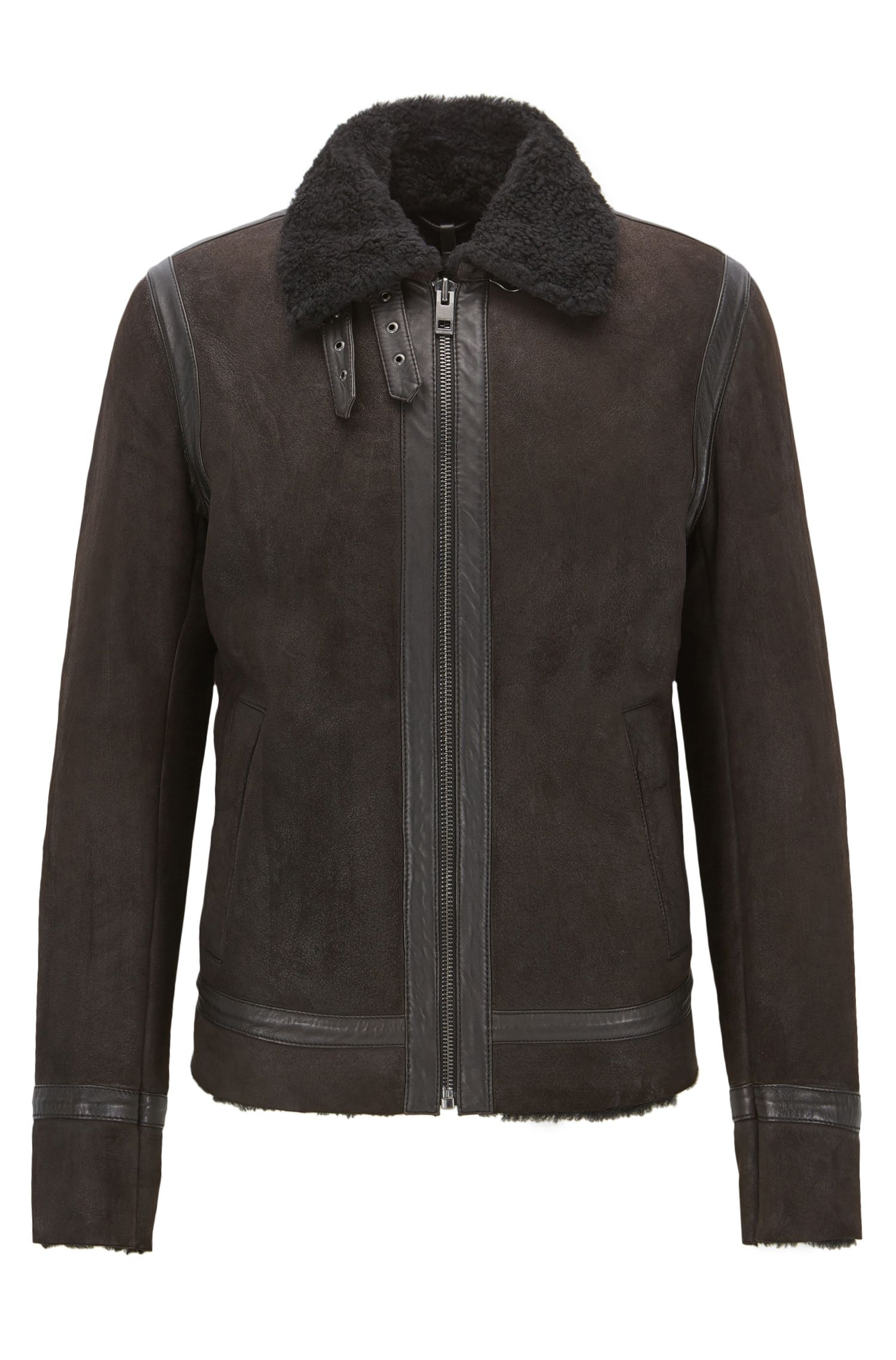 Shearling Suede Jacket | Jearling , Dark Brown