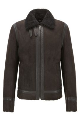 Shearling Suede Jacket | Jearling , Dark Brown