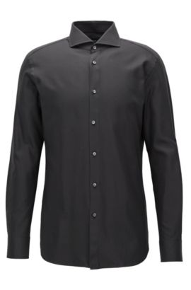 Cotton Twill Dress Shirt, Slim Fit | T-Christo, Black