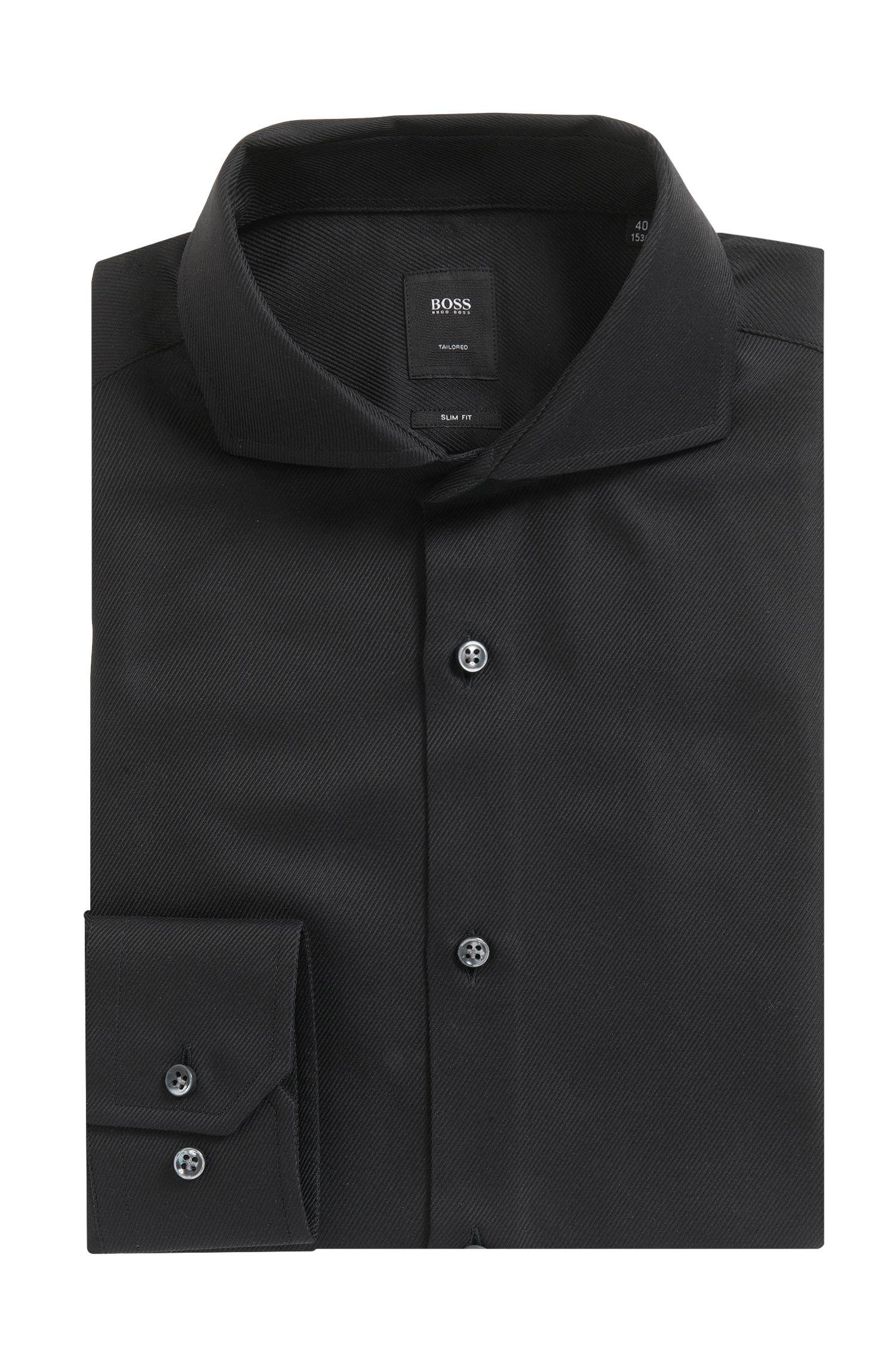 Cotton Twill Dress Shirt, Slim Fit | T-Christo, Black