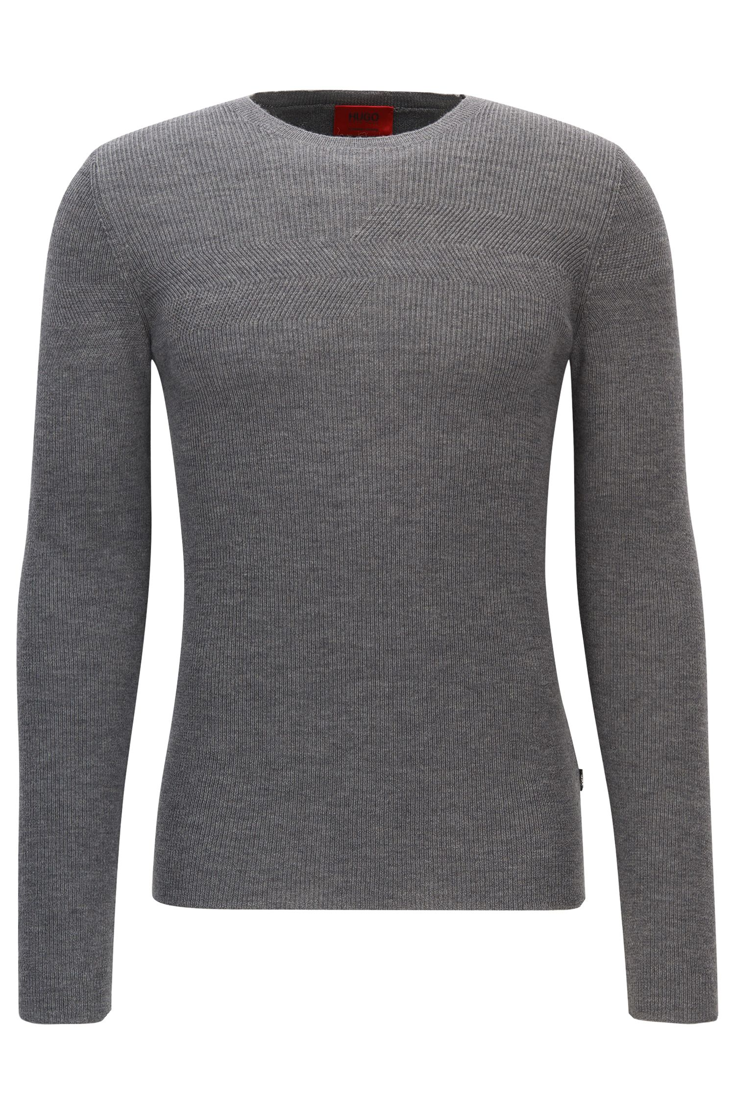 Ribbed Virgin Wool Sweater | Sarow, Open Grey