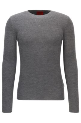 Ribbed Virgin Wool Sweater | Sarow, Open Grey