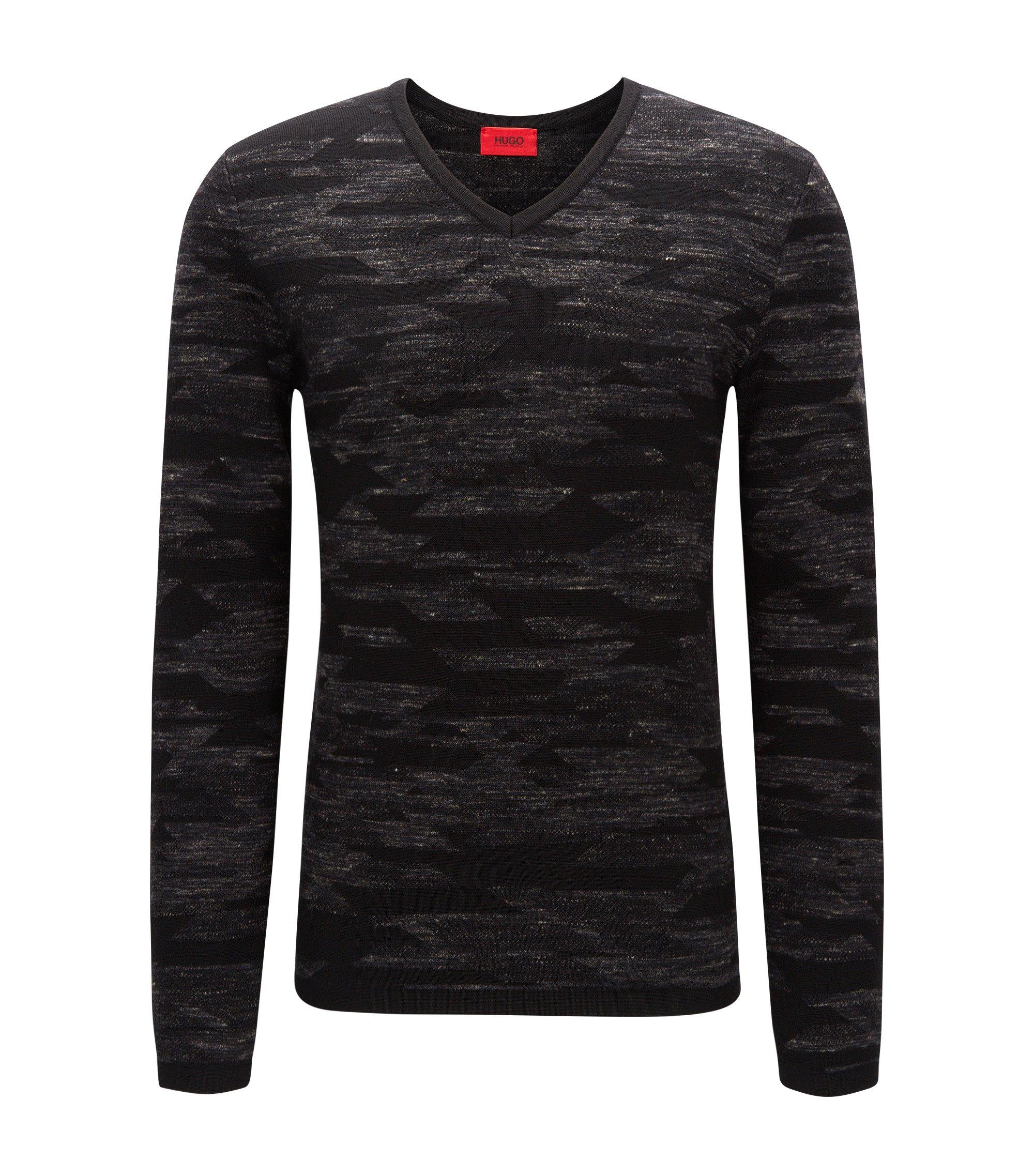 Wool Blend Geometric Print Sweater | Sindo, Charcoal