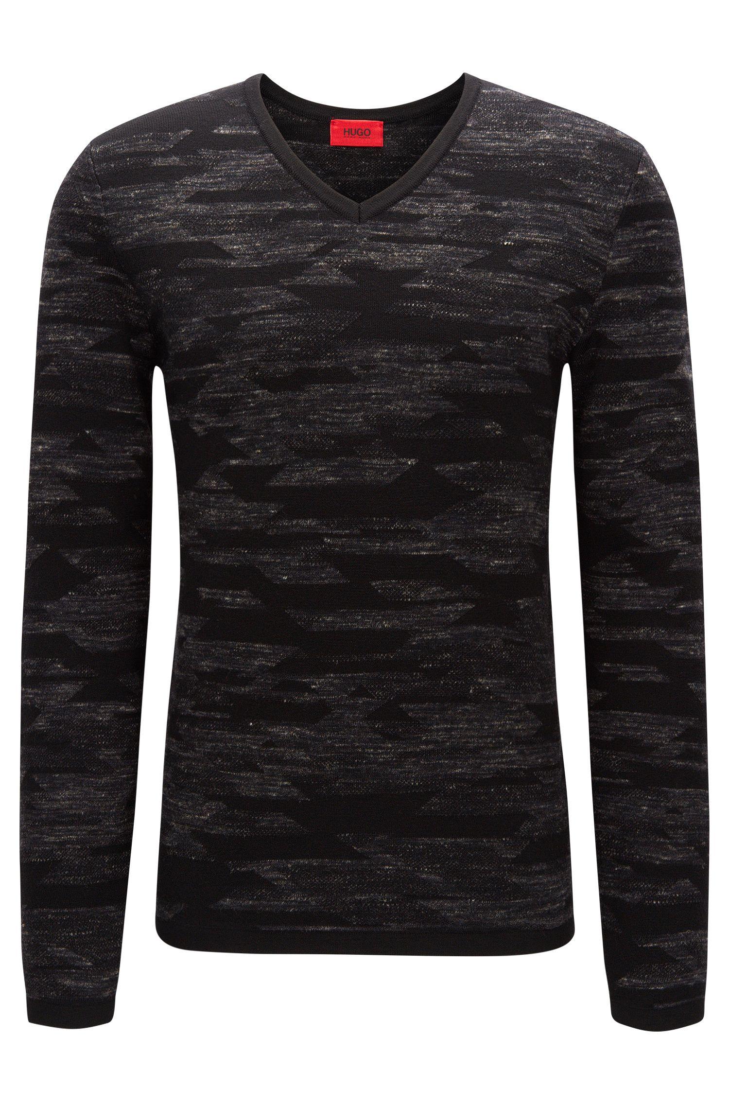 Wool Blend Geometric Print Sweater   Sindo