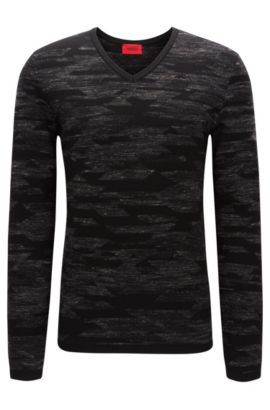 Wool Blend Geometric Print Sweater | Sindo, Charcoal
