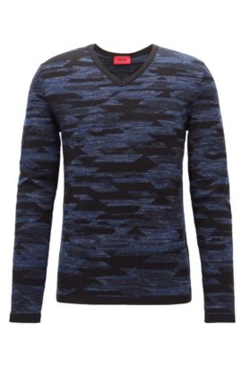 Wool Blend Geometric Print Sweater | Sindo, Dark Blue