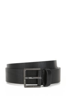 Embossed Leather Belt | Cermes, Black